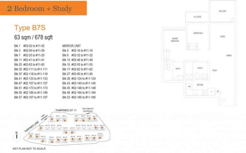 treasure at tampines floor plan 2 bedrooms study